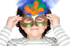 Funny boy with carnival mask Royalty Free Stock Image