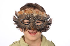 Funny boy with carnival mask Royalty Free Stock Images
