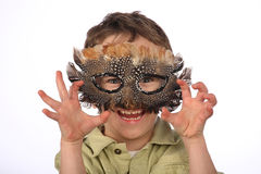 Funny boy with carnival mask Stock Photography