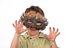 Funny boy with carnival mask Stock Images