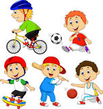 Funny boy cartoon character doing sport Stock Photos