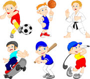 Funny boy cartoon character doing sport Royalty Free Stock Photos