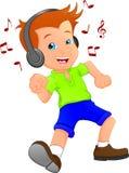 Funny boy cartoon listening music with dance Stock Image