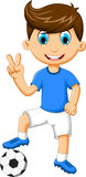 Funny boy cartoon peace with football Stock Images