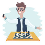 Funny boy cartoon playing chess Stock Photos