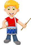 Funny Boy cartoon playing drum Royalty Free Stock Photos