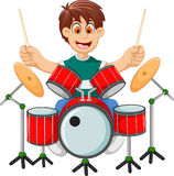 Funny boy cartoon playing drum Royalty Free Stock Image