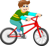 Funny boy cartoon riding bicycle Stock Images