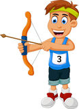 Funny boy cartoon sports archery. Illustration of funny boy cartoon sports archery Royalty Free Stock Images