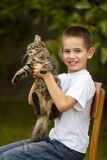Funny boy with cat Royalty Free Stock Photos