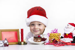 Funny boy chef. Prepared a cake Royalty Free Stock Photography