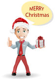 Funny boy and Christmas isolated on white. Vector royalty free illustration