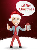 Funny boy and Christmas. Present vector background stock illustration