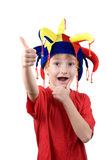 Funny boy in the clown hat Royalty Free Stock Images