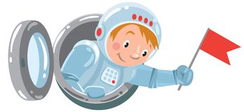 Funny boy cosmonaut or astronaut with flag Stock Photos