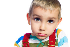 Funny boy. Face of a beautiful boy with big eyes, closeup, isolated on a white background Royalty Free Stock Image