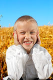 Funny Boy In The Field Stock Images
