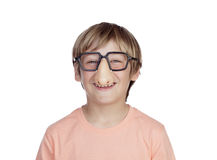 Funny boy with glasses disguise Stock Photo