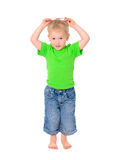 Funny boy with glasses in green shirt Stock Photography