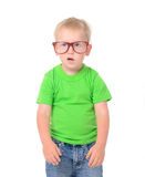 Funny boy with glasses in green shirt Stock Images
