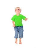 Funny boy with glasses in green shirt Stock Image