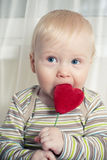 Funny boy with heart Stock Photos