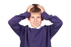 Funny boy with his hands on his head Stock Images