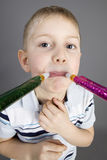 Funny boy with horn Stock Photography