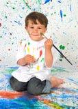 Funny boy painting Stock Photo