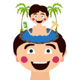 Funny boy with palms Stock Image