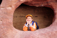 Funny boy in Petra. Jordan Royalty Free Stock Image