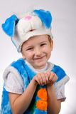 Funny boy in a rabbit costume Royalty Free Stock Photography