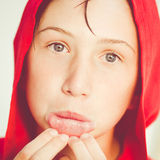 Funny boy with red bathrobe Royalty Free Stock Image