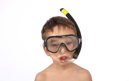 Funny boy with scuba mask Royalty Free Stock Photography
