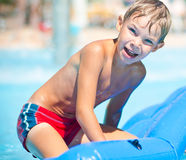 Funny boy on sea Royalty Free Stock Images