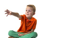 Funny boy shows emotions. On a white background Royalty Free Stock Photos