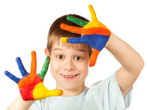 Funny kid with stained coloured hand Stock Image