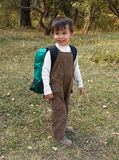 Funny boy stands with backpack Royalty Free Stock Images