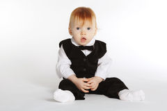 Funny boy in suit Stock Images
