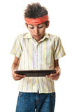 Funny boy with tablet Stock Photo