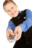 Funny boy with tv remote control Stock Photo