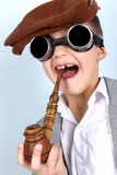Funny Boy with vintage hat Royalty Free Stock Images