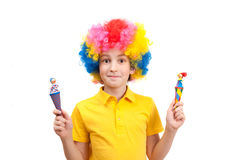 Funny boy wears colorful wig Royalty Free Stock Photography