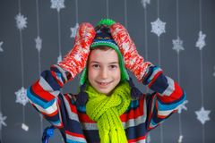 Funny boy in winter clothes Stock Photo