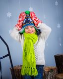 Funny boy in winter clothes Royalty Free Stock Photography