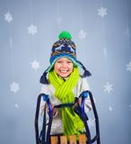 Funny boy in winter clothes Royalty Free Stock Photos