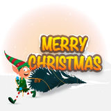 Funny boy with Xmas Tree for Christmas. Royalty Free Stock Image