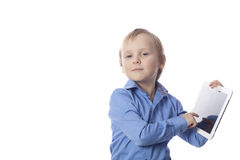 Funny boy with touch pad Stock Photography