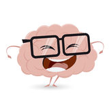 Funny brain with nerd glasses Royalty Free Stock Photos