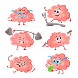 Funny brain training with barbell, dumbbells, on treadmill, reading, resting Royalty Free Stock Photography